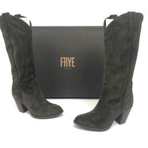 Frye Womens Ilana Pull On Cowboy Boots Fatigue Oli